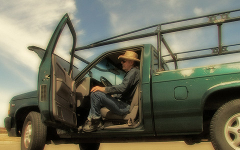 Lowell James Hicks in his truck